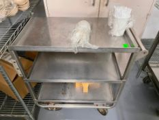 DESCRIPTION: THREE TIER STAINLESS UTILITY CART LOCATION: KITCHEN QTY: 1
