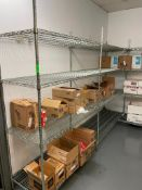 """DESCRIPTION: (7) 48"""" X 18"""" FOUR TIER WIRE SHELVES. THESE UNITS SHARE UPRIGHTS. ADDITIONAL INFORMATIO"""