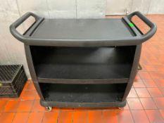DESCRIPTION: THREE TIER PLASTIC UTILITY CART ( BLACK ) LOCATION: KITCHEN