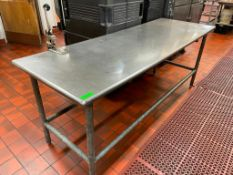 """DESCRIPTION: 8' X 30"""" STAINLESS TABLE W/ MOUNTED CAN OPENER SIZE: 8' LOCATION: KITCHEN QTY: 1"""