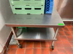 """DESCRIPTION: 30"""" X 30"""" LOW BOY STAINLESS TABLE ON CASTERS ADDITIONAL INFORMATION ALL STAINLESS BCL C"""