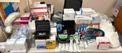 DESCRIPTION: LARGE ASSORTMENT OF MEDICAL SUPPLIES AND DEVICES - DIABETIC EQUIPMENT / EAR EYE AND MOU