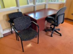 DESCRIPTION: 4 PC. OFFICE FURNITURE SET ADDITIONAL INFORMATION: SOLD AS SET. THIS LOT IS: ONE MONEY