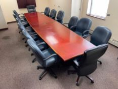DESCRIPTION: 15 PC. COMPLETE CONFERENCE TABLE SET ADDITIONAL INFORMATION: TABLE AND 14 CHAIRS INCLUD