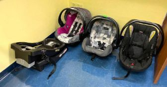 DESCRIPTION ASSORTED BABY CAR SEATS AS SHOWN LOCATION 532 THIS LOT IS ONE MONEY QUANTITY 1