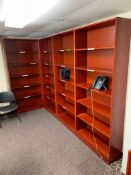 DESCRIPTION: (4) - 8 FT. BOOK SHELVES WITH ADDITIONAL MATCHING CABINETS ADDITIONAL INFORMATION: SEE
