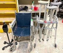 DESCRIPTION: LARGE GROUP OF ASSORTED TRANSPORTATION AIDS - WHEEL CHAIR / CRUTCHES / WALKER THIS LOT