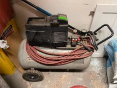 DESCRIPTION: 2 HP / 115 PORTABLE ELECTRIC AIR COMPRESSOR ADDITIONAL INFORMATION: GOOD USED CONDITION