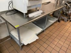 """DESCRIPTION: 8' X 30"""" STAINLESS TABLE W/ GALV UNDER SHELF. ADDITIONAL INFORMATION NO CONTENTS INCLUD"""