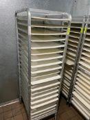 DESCRIPTION: TWENTY PAN FRONT LOAD TRAY RACK. ADDITIONAL INFORMATION W/ PLASTIC TRAYS BCL CAN SHUTTL