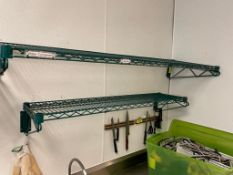 """DESCRIPTION: (2) ASSORTED COATED WIRE WALL SHELVES. 48"""" X 12"""" AND 36"""" X 12"""" ADDITIONAL INFORMATION O"""