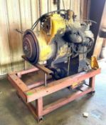 DESCRIPTION STEEL ENGINE STAND W/ VICKERS ENGINE AS SHOWN THIS LOT IS ONE MONEY QUANTITY 1