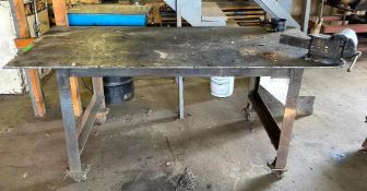 """DESCRIPTION 84"""" X 38"""" X 35"""" STEEL WORK TABLE W/ MOUNTED VICE ADDITIONAL INFORMATION ON CASTERS QUANT"""