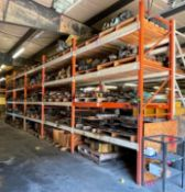 (5) SECTIONS OF 8.5' PALLET RACKING (SECOND DAY PICKUP ONLY) ADDITIONAL INFO (6) UPRIGHTS, (40) CROS