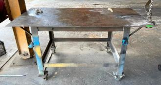 "DESCRIPTION 72"" X 38"" X 34"" STEEL WORK TABLE ON CASTERS QUANTITY 1"