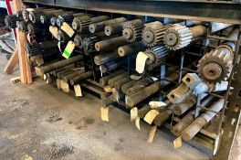 BOTTOM RACK OF ASSORTED AXLES AS SHOWN ADDITIONAL INFO SEE PHOTOS FOR MORE DETAIL LOCATION PARTS ROO