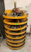 SPINNING SHELVING UNIT WITH ASSORTED PARTS AS SHOWN ADDITIONAL INFO SEE PHOTOS FOR PARTS LOCATION PA