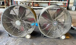 DESCRIPTION (2) INDUSTRIAL DRUM FANS (DAMAGED, NEEDS TO BE REWIRED, SEE PHOTOS) THIS LOT IS ONE MONE