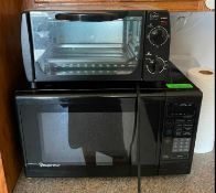 MICROWAVE OVEN AND TOASTER OVEN LOCATION BREAKROOM THIS LOT IS ONE MONEY QUANTITY: X BID 1