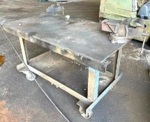 """DESCRIPTION 60"""" X 32"""" X 34"""" STEEL WORK TABLE W/ (2) MOUNTED VICE AS SHOWN ADDITIONAL INFORMATION ON"""