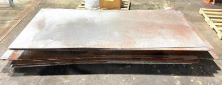 """DESCRIPTION (8) 96"""" X 48"""" STEEL DIAMOND PLATE THIS LOT IS SOLD BY THE PIECE QUANTITY 5 (8) 96"""" X 48"""""""