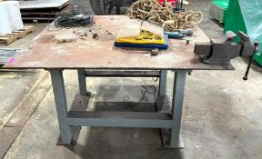 """DESCRIPTION 60"""" X 54"""" STEEL WORK TABLE W/ MOUNTED VISE SIZE 60"""" X 54"""" QUANTITY 1 60"""" X 54"""" STEEL WOR"""
