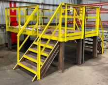 DESCRIPTION 3' TALL STEEL WORK PLATFORM WITH (2) SETS OF STAIRS SIZE 11' X 11' X 3' QUANTITY 1 3' TA