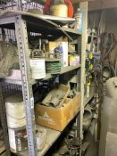 DESCRIPTION: (2) METAL SHELVES WITH CONTENTS - ASSORTED TOOLING, PARTS, AND HARDWARE. THIS LOT IS: O