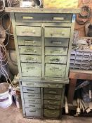 DESCRIPTION: METAL HARDWARE CABINET / ORGANIZER WITH CONTENTS . ASSORTED HARDWARE AND PARTS. QTY: 1
