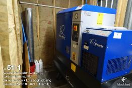 Quincy QGS-10 10 hp tank mounted air compressor, type QGS10D CSA/UL, R134A, 9534 hours, SN CAI843728
