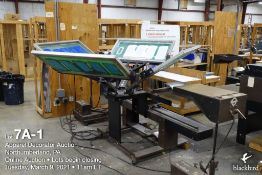 """Brown number printer silkscreen line including (1) four-station 46"""" screen carriages, two color, (2)"""