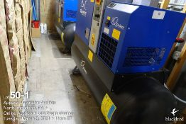 Quincy QGS-15 15 hp tank mounted air compressor, type QGS15D CSA/US, R134A, 4132 hours, SN CAI966617