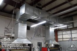Exhaust system with twin drops (over heat-roll presses), 32in x 34in plenum, 25 foot span from wall
