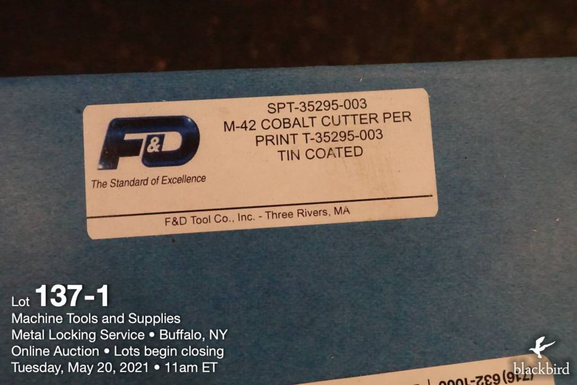 F&D cobalt milling cutter, tin coated - Image 2 of 2