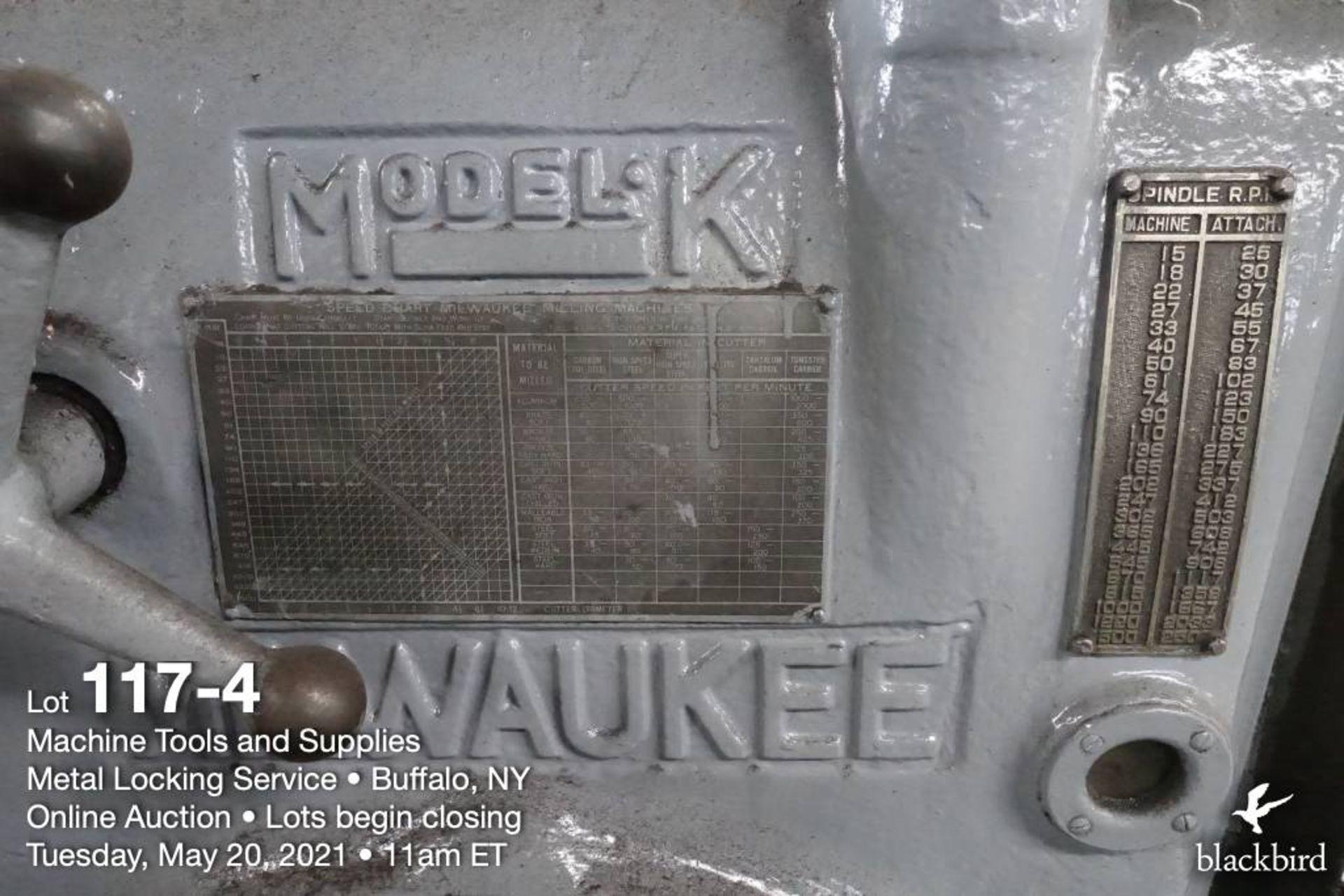 Milwaukee K #2 horizontal milling machine - Image 5 of 5