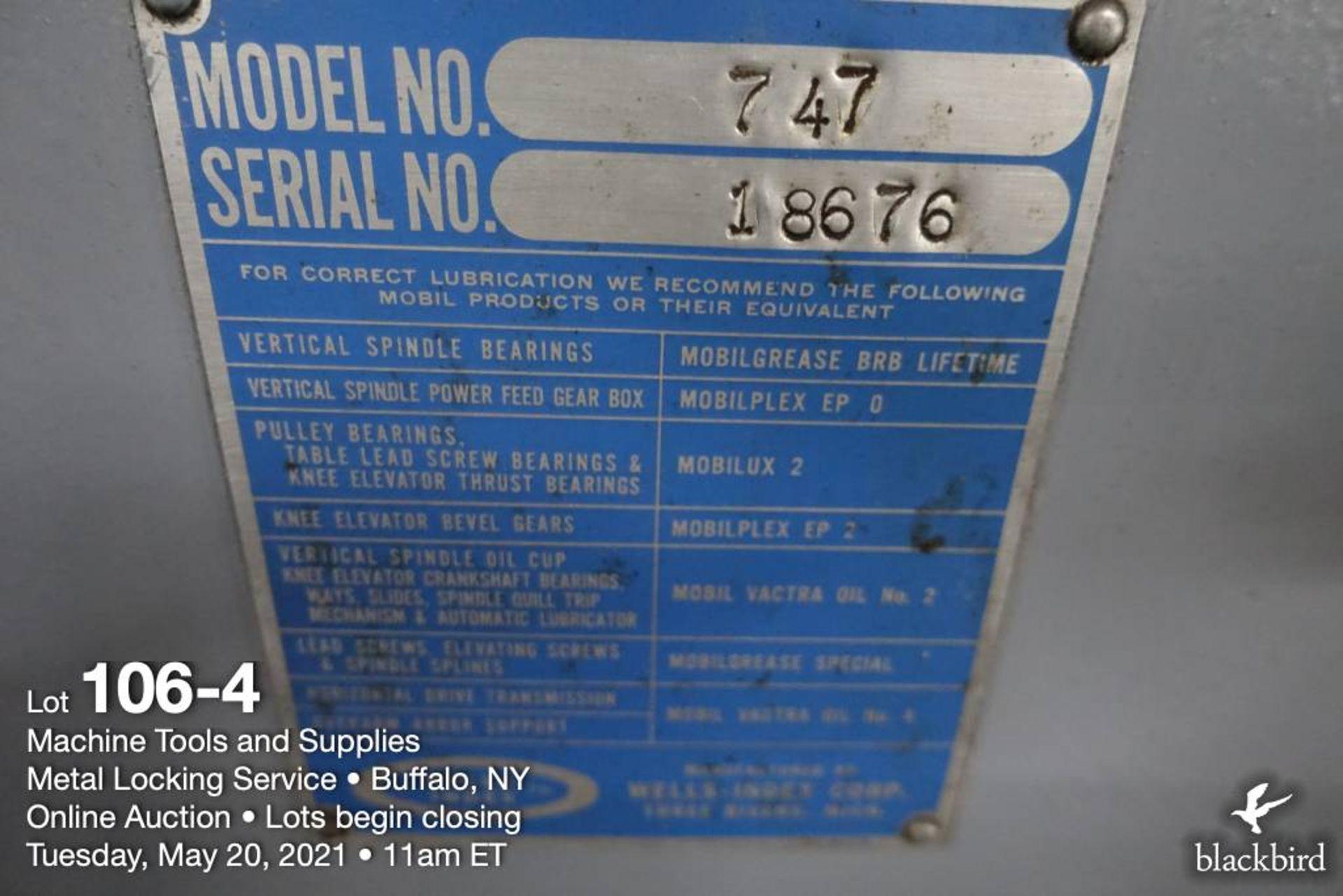 Wells Index 747 vertical milling machine, 1.5 HP - Image 5 of 5