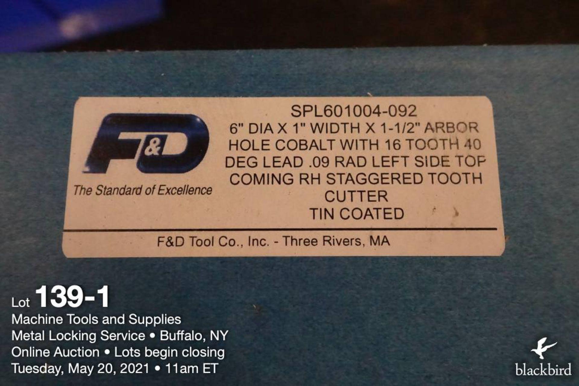 "F&D 6"" x 1"" cobalt milling cutter, 1 1/2"" arbor - Image 2 of 2"