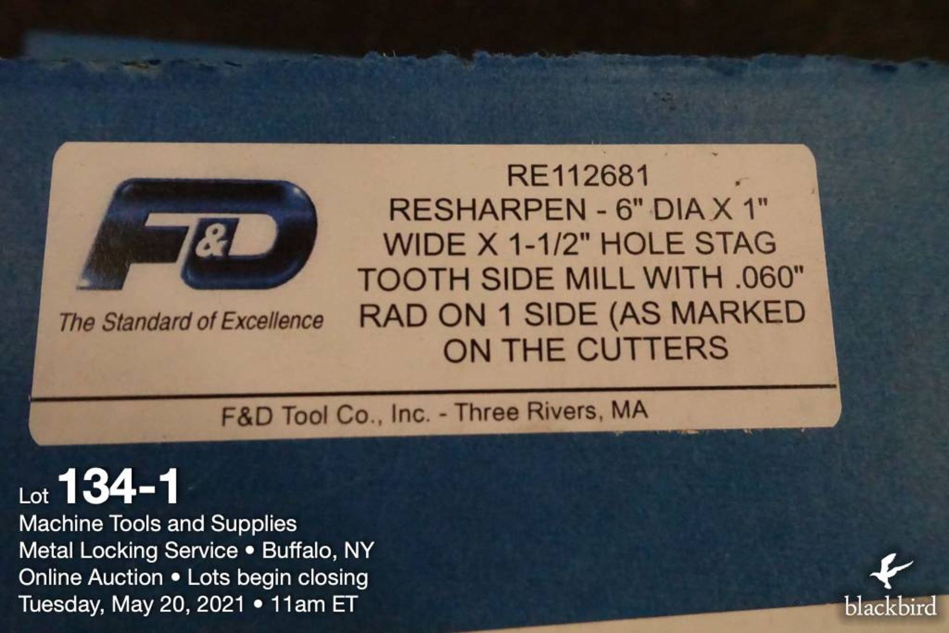 """F&D 6"""" x 1"""" milling cutter, 1 1/2"""" arbor - Image 2 of 2"""