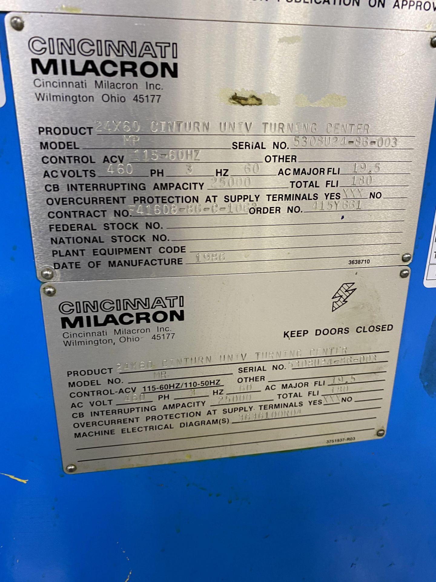Cincinnati 24x60 Cinturn CNC Lathe - Image 8 of 8
