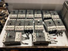 Lot of (14) Siemens 100A Circuit Breakers, Type: HDGA