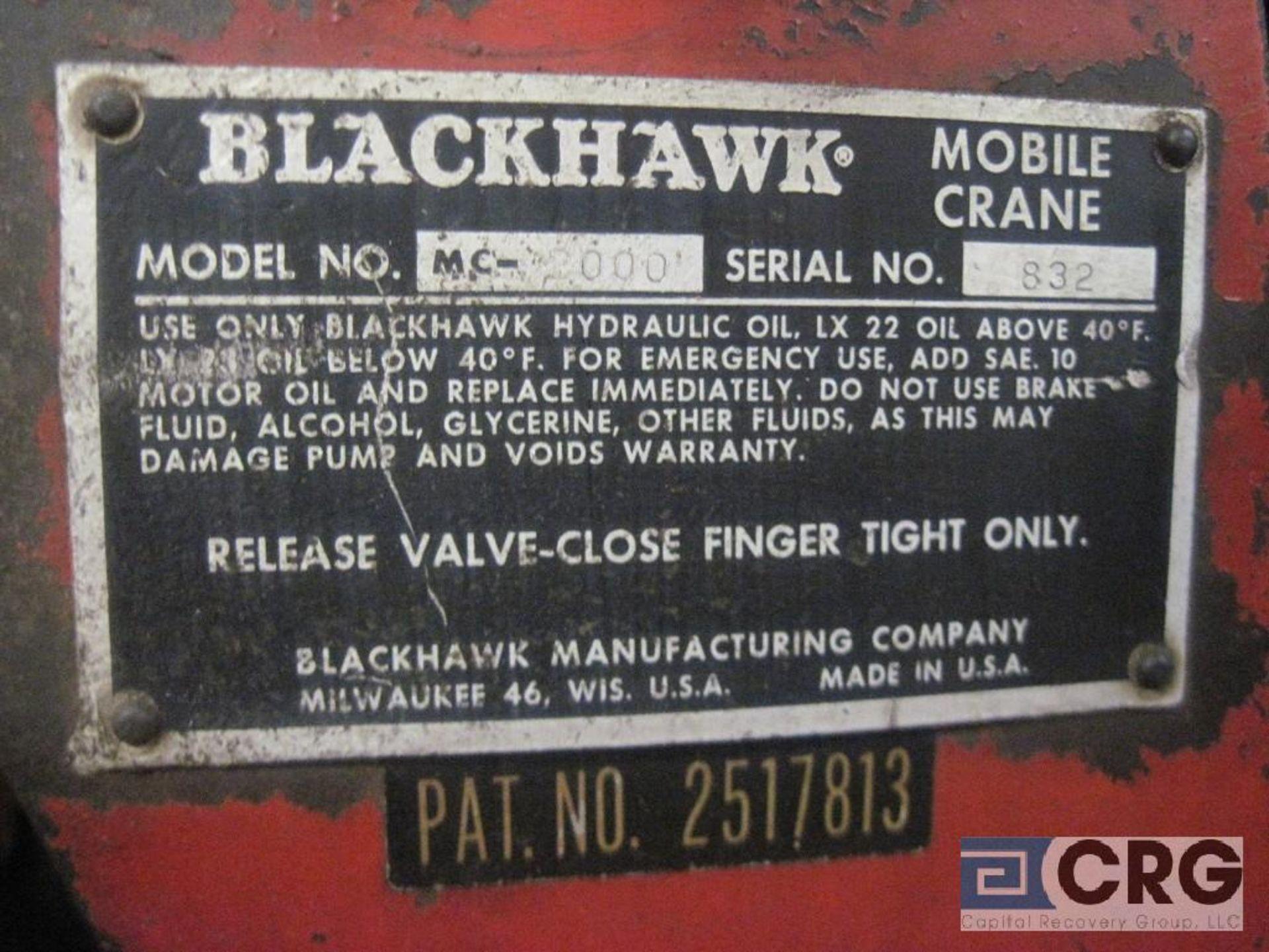 Black Hawk MC 2000 hydraulic hoist, 1 ton cap., s/n 832 - Image 2 of 2