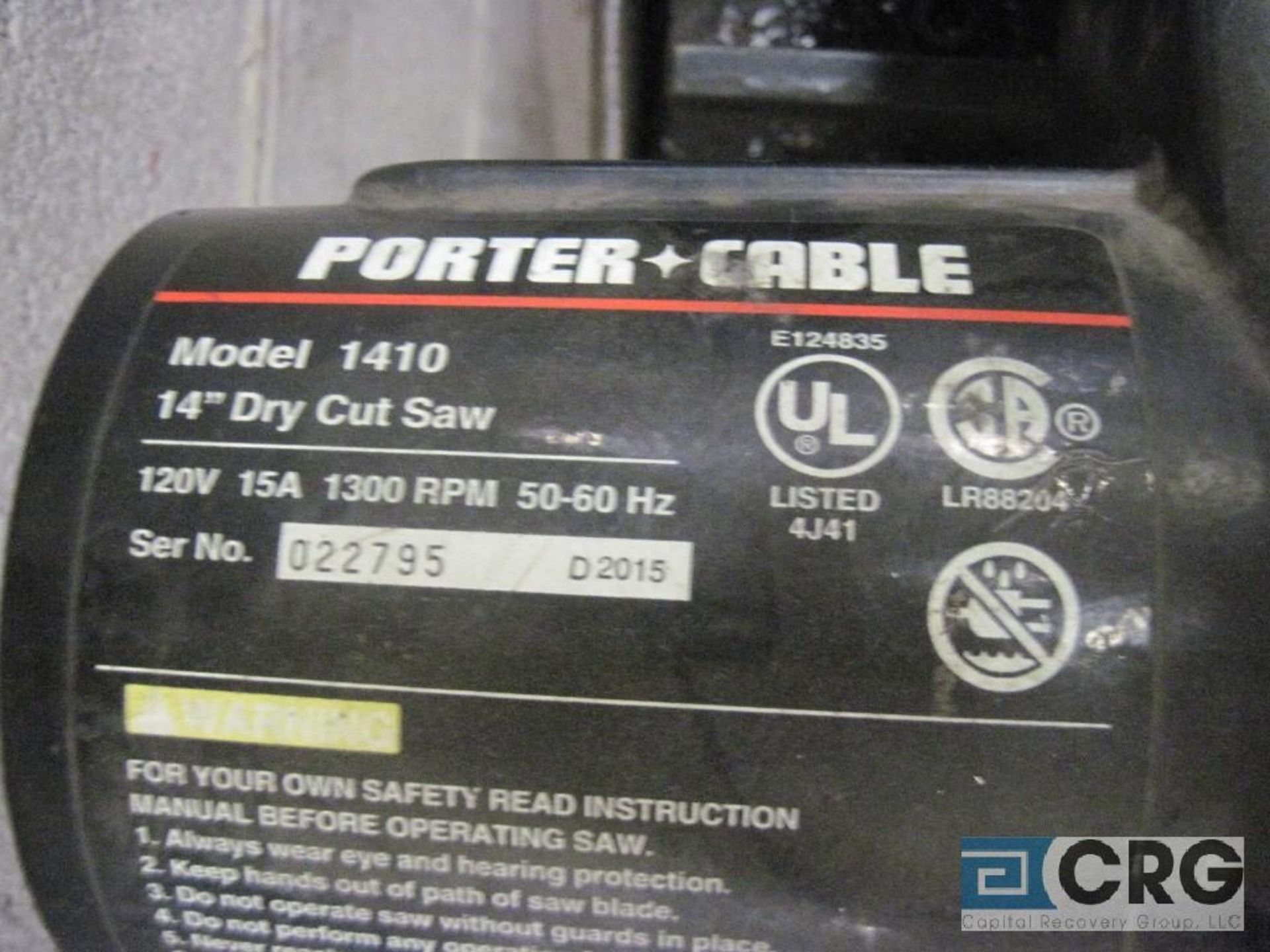 """Porter Cable 14"""" chop saw with cart, s/n 022795 - Image 2 of 2"""