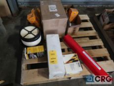 Lot of assorted JCB parts including belts, filters, and boom support (Maintenance Shop)