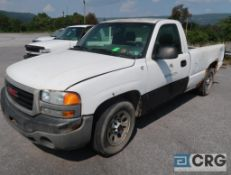 2005 GMC 1500 Sierra pickup truck, regular cab, 2WD, 4.8L V6 engine, AT, gas, 8 ft. box bed, VIN #