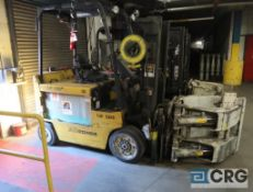 Yale 5300 lb capacity electric forklift, model ERC080HHN36TF084, 36 volt, mast height of 122 in.,