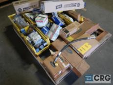 Lot of assorted Ford parts including hose, brake pads, lights, and wiper blades (Maintenance Shop)