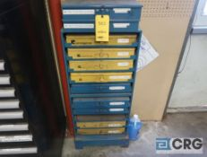 Lot of (28) parts drawers with fitting, o-rings, clamps, with wall mount nut and bolt parts bin -