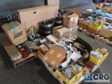 Lot of (3) pallets of International assorted parts including brake drum, radiator, fuel tank