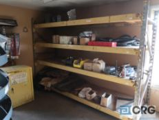 Lot of assorted parts including (2) carousel parts bins with fittings, hydraulic hose, and pallet