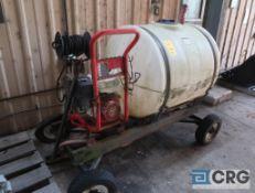 Lot of (2) miscellaneous items including (1) sprayer, 200 gal. poly tank, Honda GX390 gas motor